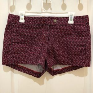 """J Crew 3"""" stretch shorts maroon and black dots"""